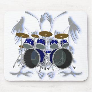 Drum Kit & Tribal Artwork (blue) - Mousepad