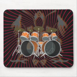 Drum Kit & Tribal Artwork: Mousepad: Orange Mouse Pad