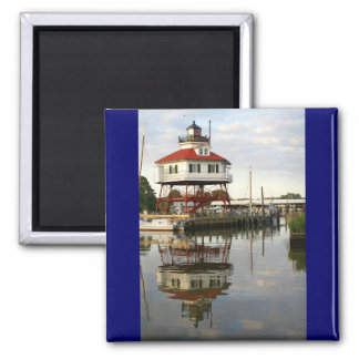 (Drum Point Lighthouse Square Magnet