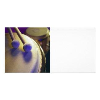 Drum & Round Tip Drum Sticks Custom Photo Card