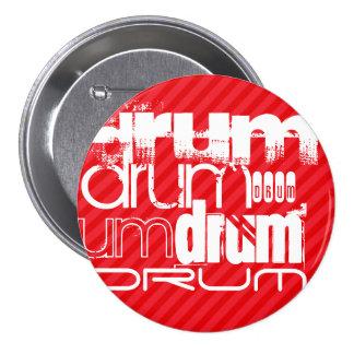 Drum; Scarlet Red Stripes 3 Inch Round Button