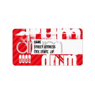 Drum; Scarlet Red Stripes Label