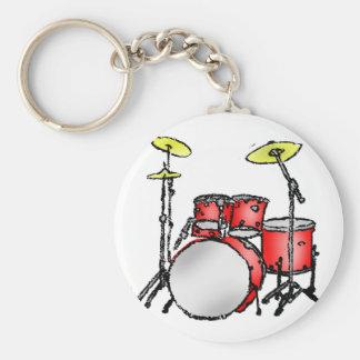 Drum Set Basic Round Button Keychain