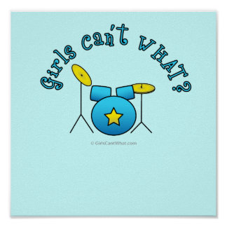 Drum Set - Blue Poster