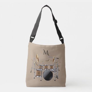 Drum Set Drummer Monogram Tote Bag