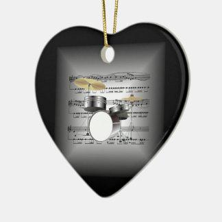 Drum Set On 3-D Sheet Music Pillow Silver & Black Ceramic Ornament