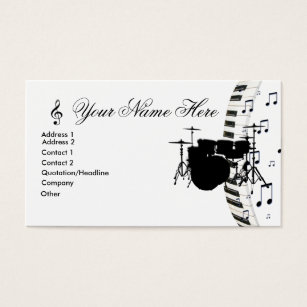 Drummer business cards business card printing zazzle ca drum set piano keyboard and music notes business card colourmoves Image collections