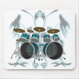 Drum Set & Tribal Artwork (green) - Mousepad