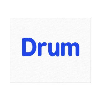 drum text blue music design stretched canvas prints
