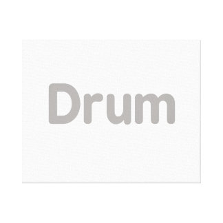 drum text grey music design stretched canvas print