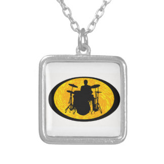 Drum To It Silver Plated Necklace