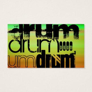Drum; Vibrant Green, Orange, & Yellow Business Card
