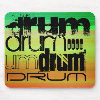 Drum; Vibrant Green, Orange, & Yellow Mouse Pad