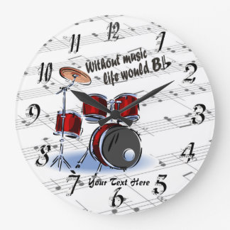 Drum - Without Music Life Would B Flat Wall Clock