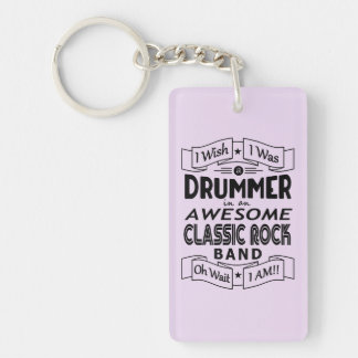 DRUMMER awesome classic rock band (blk) Keychain