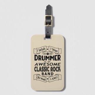 DRUMMER awesome classic rock band (blk) Luggage Tag