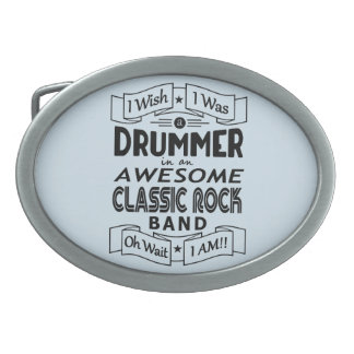 DRUMMER awesome classic rock band (blk) Oval Belt Buckle