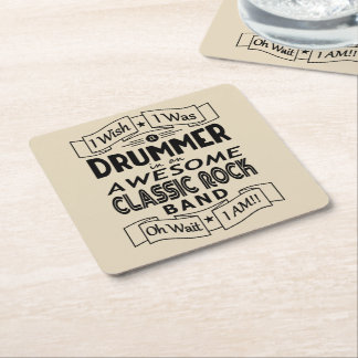 DRUMMER awesome classic rock band (blk) Square Paper Coaster