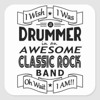 DRUMMER awesome classic rock band (blk) Square Sticker