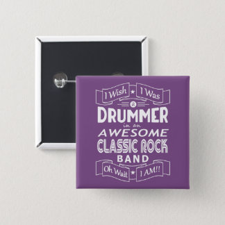 DRUMMER awesome classic rock band (wht) 2 Inch Square Button