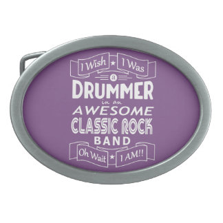 DRUMMER awesome classic rock band (wht) Belt Buckle