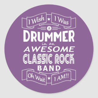 DRUMMER awesome classic rock band (wht) Classic Round Sticker