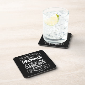 DRUMMER awesome classic rock band (wht) Coaster