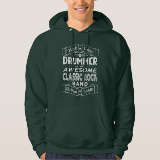 DRUMMER awesome classic rock band (wht) Hoodie