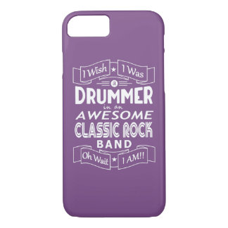 DRUMMER awesome classic rock band (wht) iPhone 8/7 Case