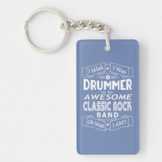 DRUMMER awesome classic rock band (wht) Keychain