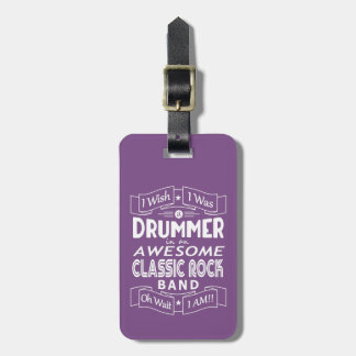 DRUMMER awesome classic rock band (wht) Luggage Tag