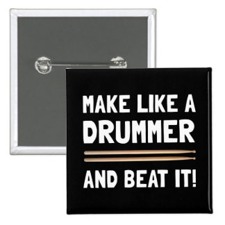 Drummer Beat It 2 Inch Square Button