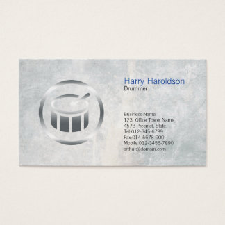 Drummer Chrome Drum Icon Business Card