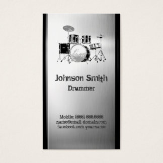 Drummer Drum Set - Brushed Stainless Steel Metal Business Card