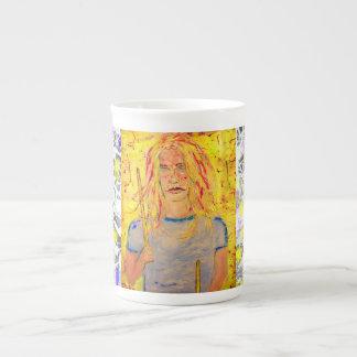 drummer girl drip painting bone china mug