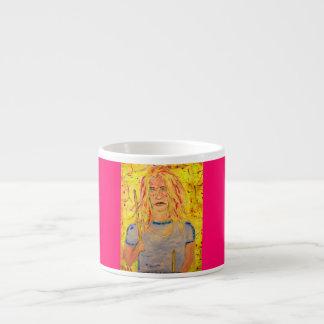 drummer girl rocks art espresso cups