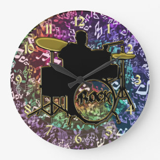 Drummer on Trap Set with Rainbow Music Notes Clock