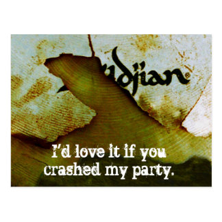 Drummer Party Crasher Cymbal Postcard