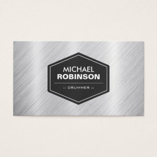 Drummer - Silver Metallic Look Business Card