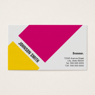 Drummer - Simple Pink Yellow Business Card