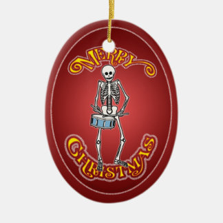 Drummer Skeleton Christmas Ornament