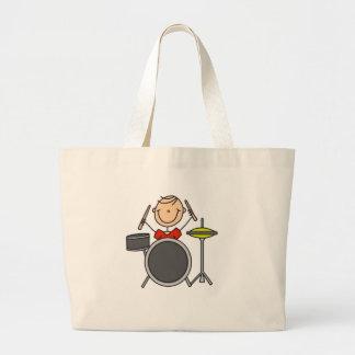 Drummer Stick Figure Large Tote Bag