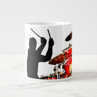Drummer sticks in air shadow real drums large coffee mug