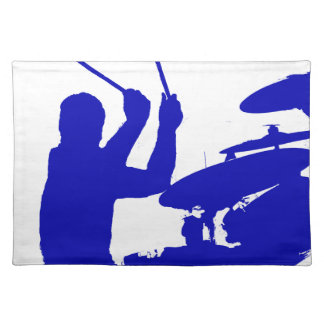 Drummer sticks in air shadow Solid blue Placemat