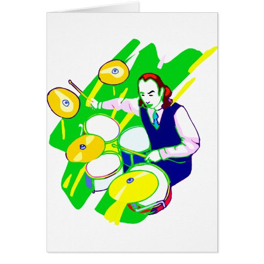 Drummer Wearing Vest Yellow Cymbals Graphic Card