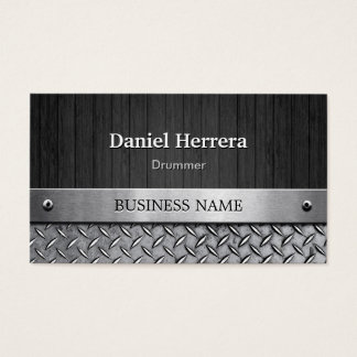 Drummer - Wood and Metal Look Business Card