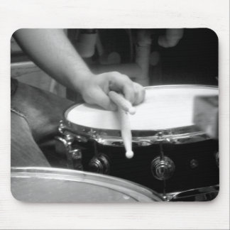 drums and drumsticks black and white mouse pad