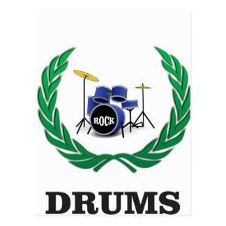 drums blue sound postcard