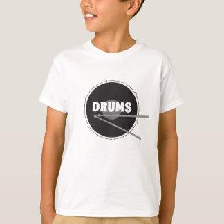 Drums Drummer Hard Core Love Rock Music Black Cool T-Shirt