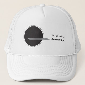Drums Drummer Percussion Minimal White Music Cool Trucker Hat